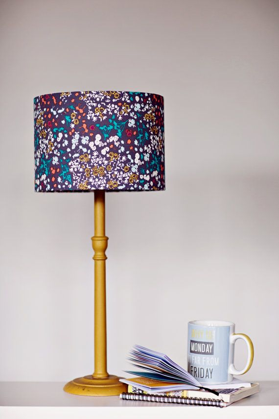 Lampshade Grey Floral Lamp Shade Purple By Shadowbrightlamps Grey Lamp Shades Shabby Chic Lamp Shades Lamp Shades