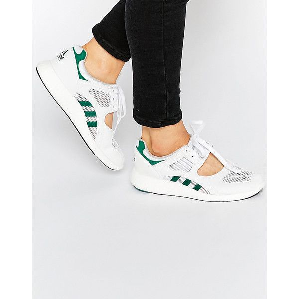 adidas Originals White Equipment Racing 91 Sneakers (525 SAR) ❤ liked on Polyvore featuring shoes, sneakers, white, white leather sneakers, adidas sneakers, white trainers, white tennis shoes and lace up sneakers