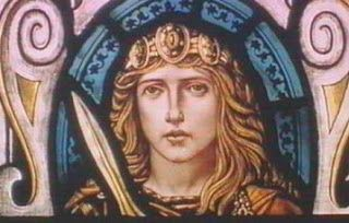 A Stained Glass Rendering of Boudicea at the  Colchester Town Hall
