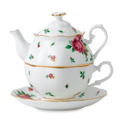 Royal Albert 3-Piece Tea Set for One in White Roses - BedBathandBeyond.com