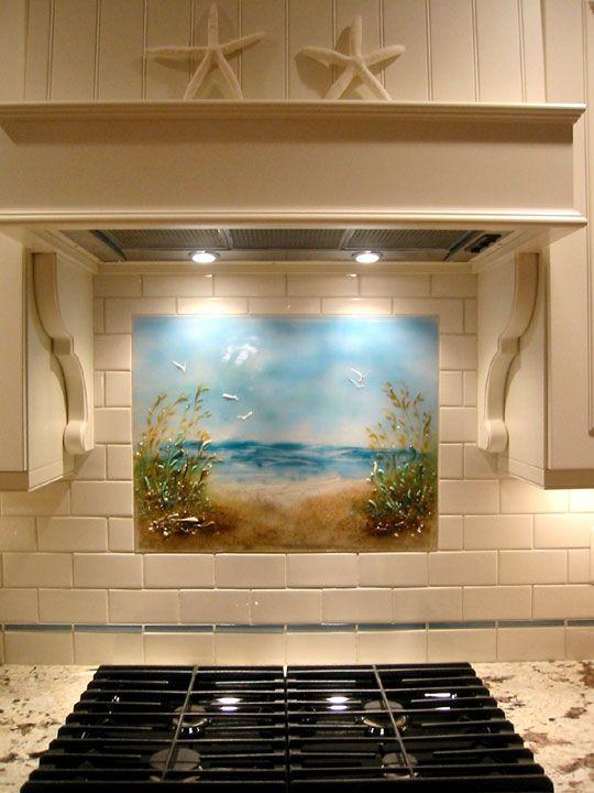 Beach Themed Kitchen Backsplash Path To The Beach Designer Glass