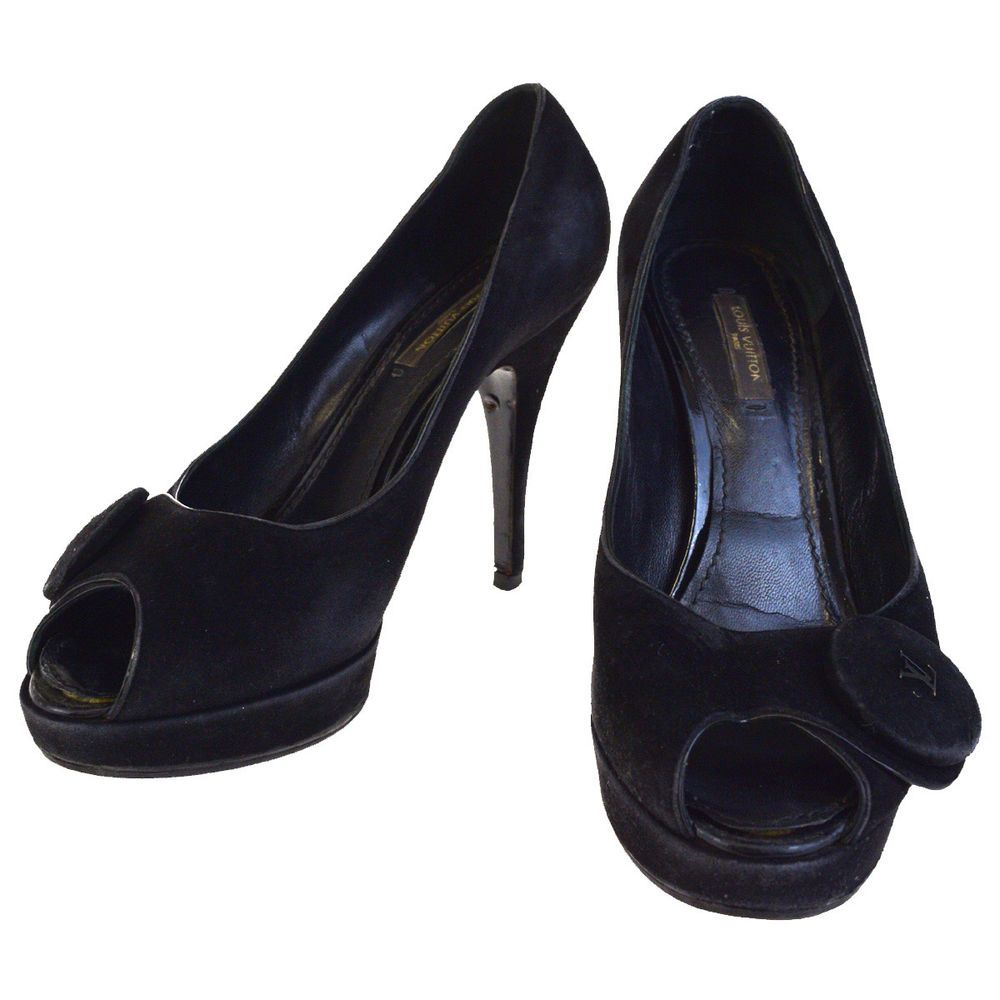 e2d48f41a045 Authentic LOUIS VUITTON Shoes Pumps Heels Suede Leather  37 Black Italy  01EF833