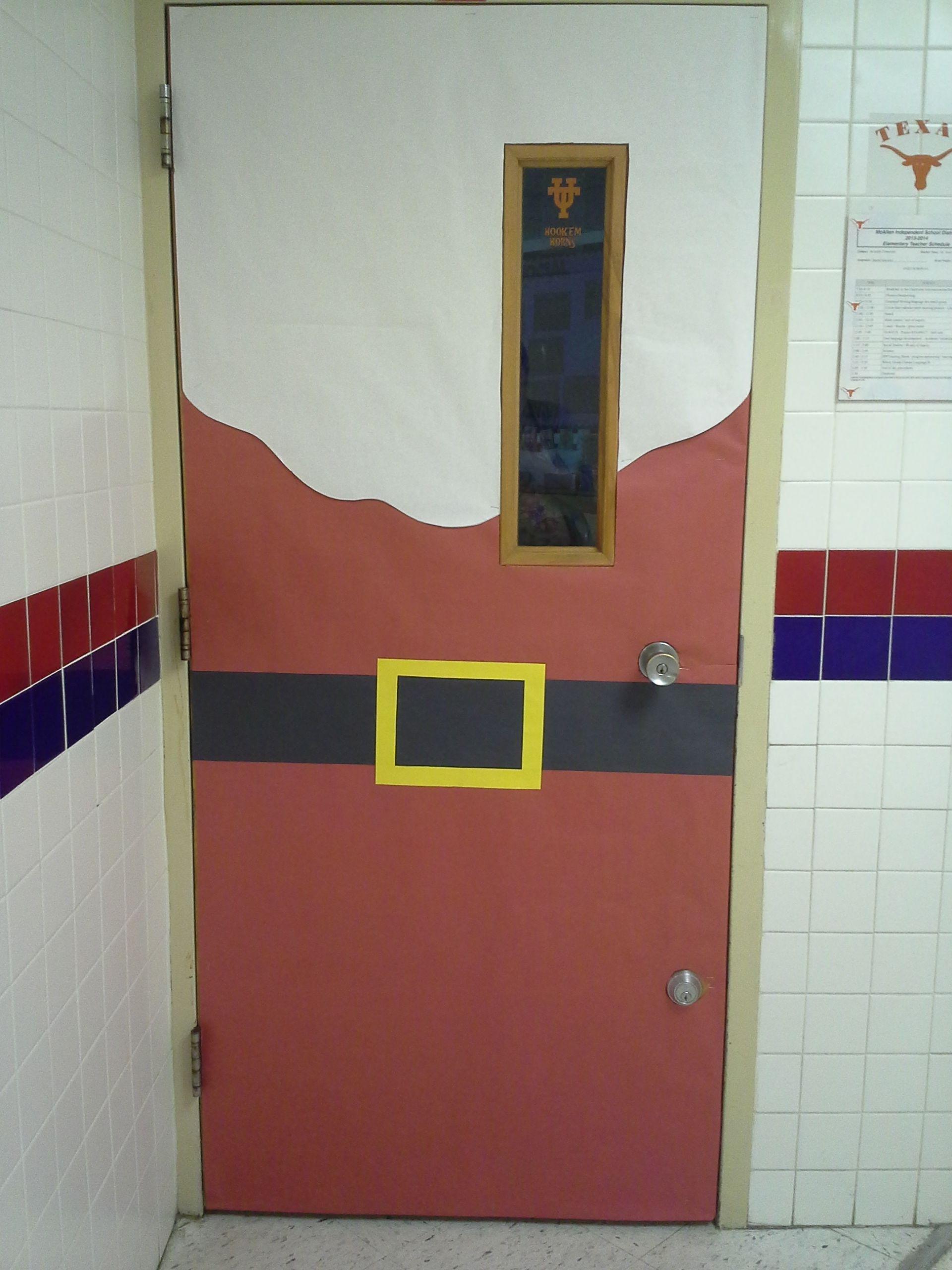 Simple But Cute Santa Theme School Door Decoration