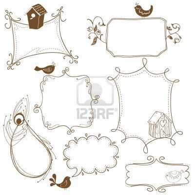 Sweet Doodle Frames With Birds And Bird Houses Doodle Frames Cute Doodles Doodle Borders