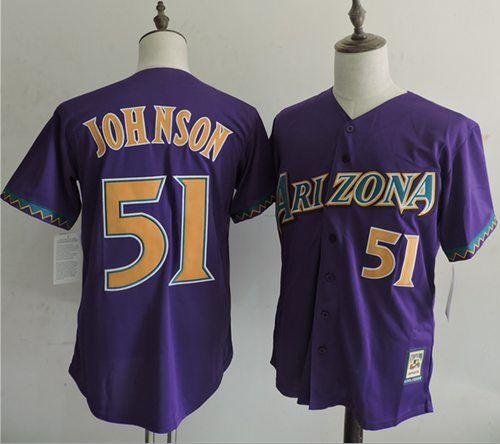 0e37f284759 Mitchell And Ness Diamondbacks  51 Randy Johnson Purple Throwback Stitched  MLB Jersey