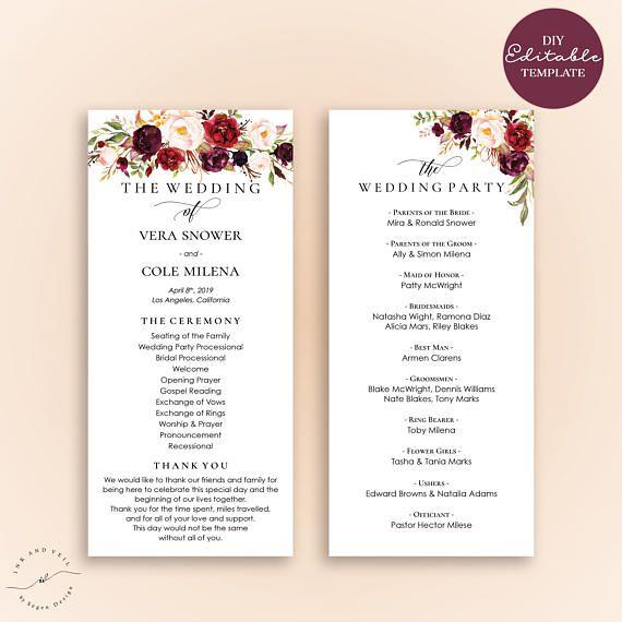 Order of Ceremony Ceremony Program Printable Wedding Programs Wedding Program Template Templett Burgundy and Blush Pink Floral