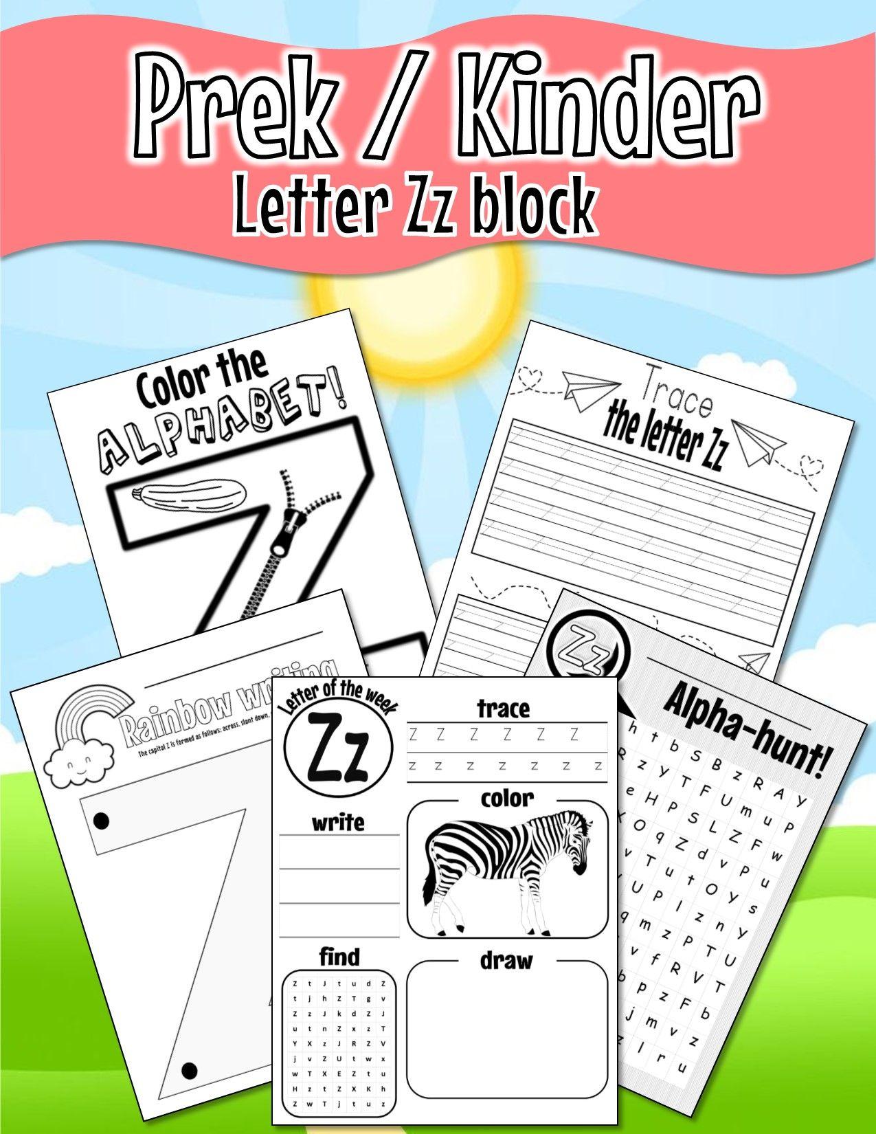 Pre K Kinder Letter Zz Worksheets