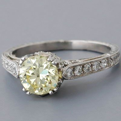 Antique Edwardian Style Platinum  Fancy Light Yellow  Diamond Engagement  Ring 84b95e65d