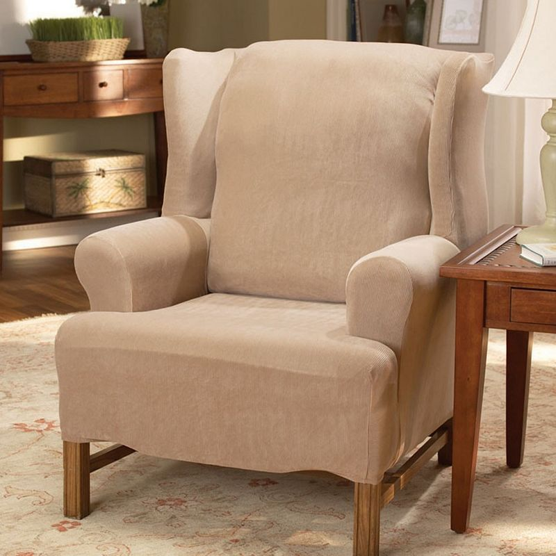 Homestyles by Sure Fit Stretch Pearson Wing Chair Slipcover, Beig/Green (Beig/Khaki)