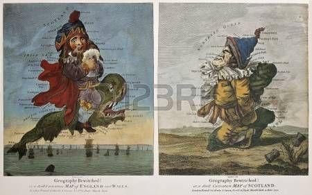 Старый карикатура карты Англии Уэльса и Шотландии. Созданный Dighton, опубликованной в Лондоне Боулз и Карвер, 1794 photo