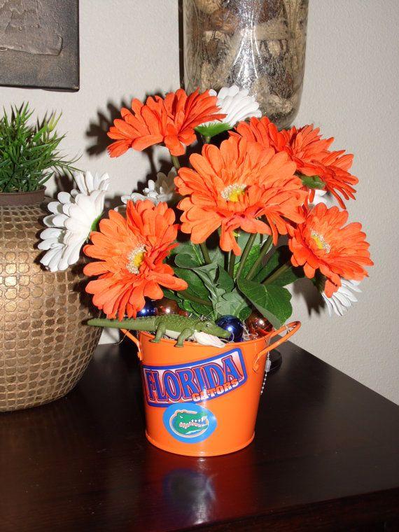 FLORIDA GATORS Flower Arrangement Football CENTERPIECE Silks
