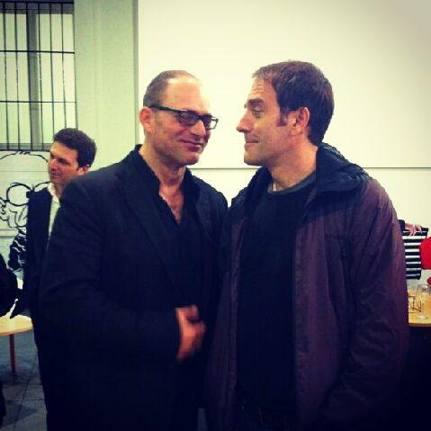Amedeo Letizia e Valerio Mastandrea alla presentazione da Fandango Incontro a Roma.