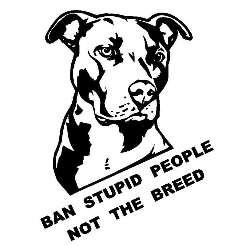 For Pitbull Lovers Ban Stupid People Not The Breed Vinyl Sticker