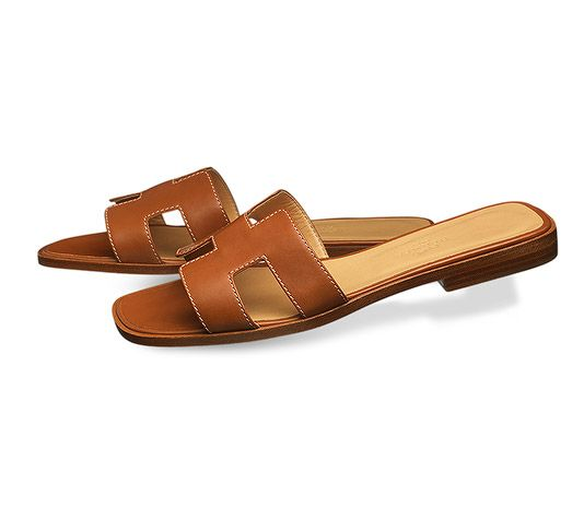 Calfskin With Oran Box Sandal In Hazelnut Hermes Ladies' H9IYE2WD