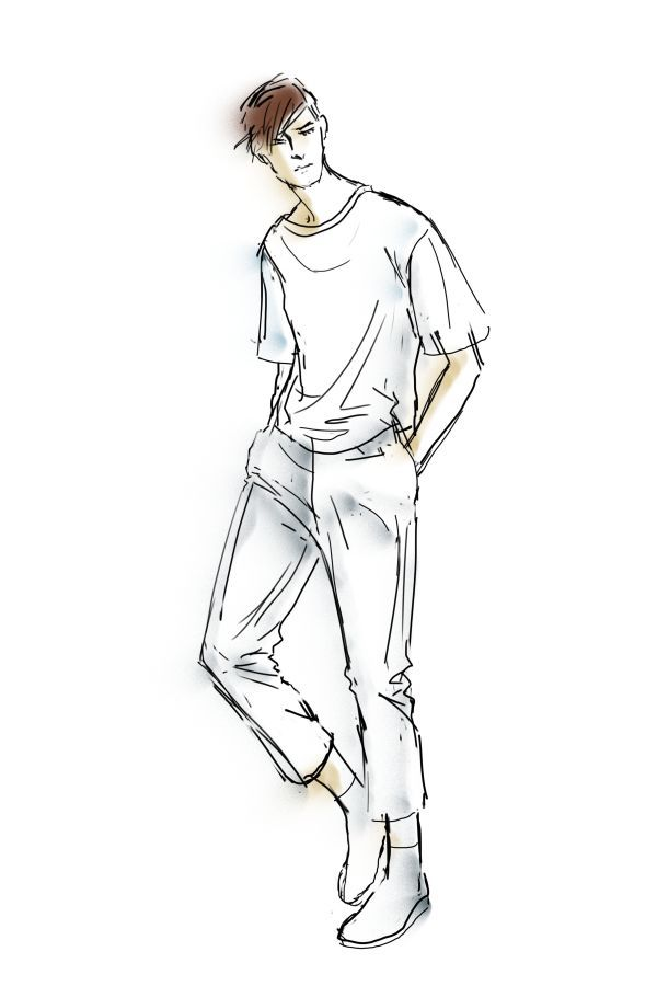 It is a picture of Clean Fashion Poses Drawing