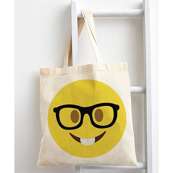 Emoji Eyeglasses Emoji Tote ($20) ❤ liked on Polyvore featuring bags, handbags, tote bags, white tote bag, cotton handbags, white tote handbags, tote purse and handbags totes