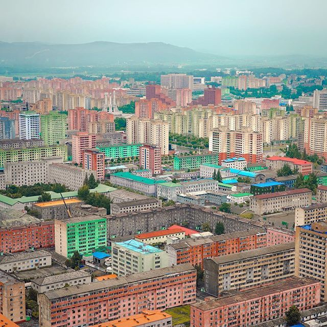 Views over Pyongyang from the Juche tower. It looks like a toy town!