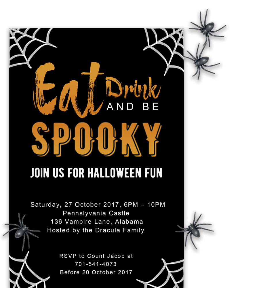 Free Printable Halloween Party Invitations 2018 [ Template
