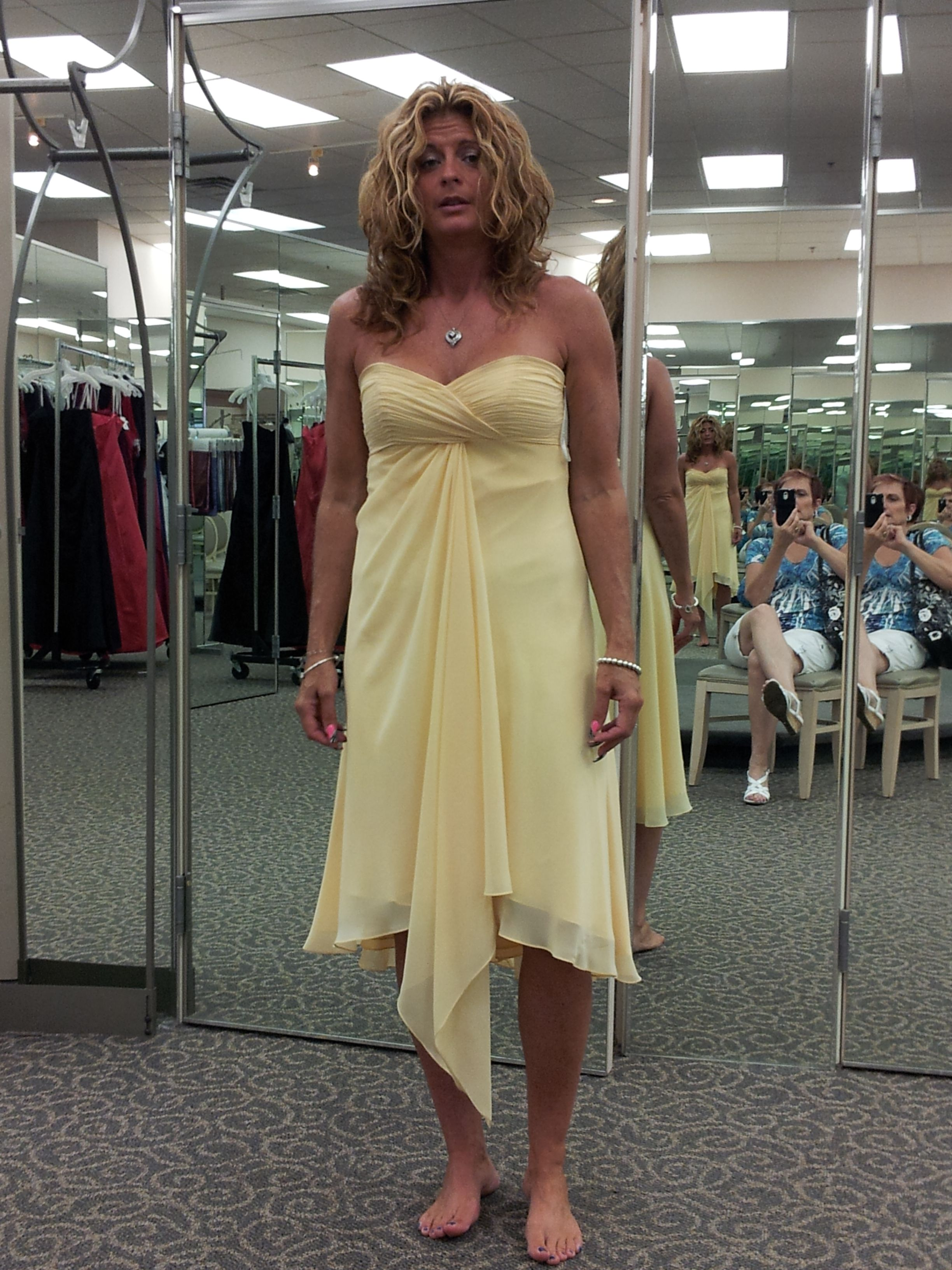 Erika modeling a possibility for the bridesmaids
