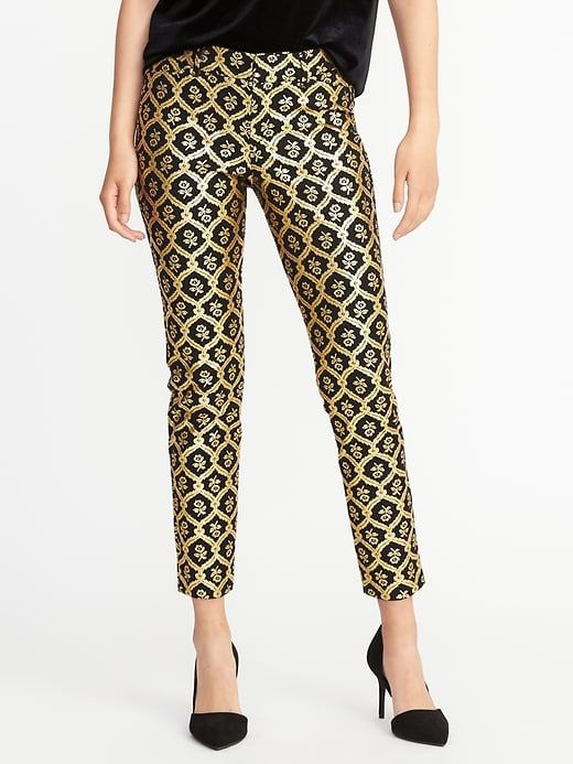 Old Navy Mid Rise Pixie Pants For Women Gold Print