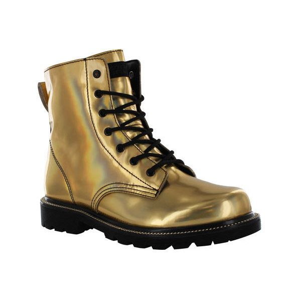Women's Gotta Flurt Luna Boot (€43) ❤ liked on Polyvore featuring shoes, boots, same day, black lace up boots, patent leather combat boots, black boots, army boots and laced boots