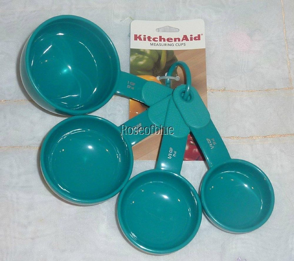 Kitchenaid 4 measuring cups set teal sea blue country cottage ...