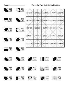 3 By 2 Digit Multiplication Color Worksheet