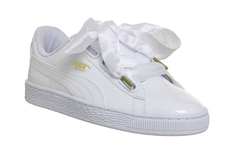 Basket Heart patent white sneakers, £43, Puma | Puma basket