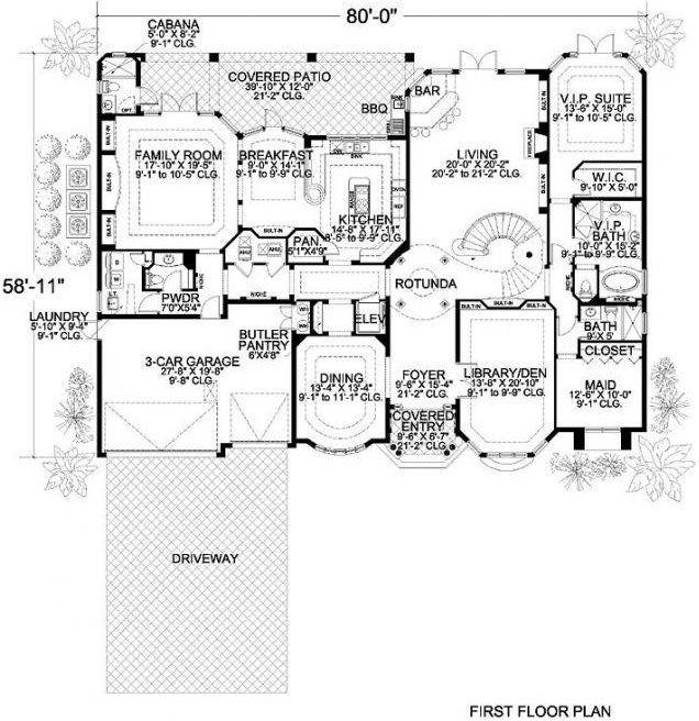 Luxury Mediterranean Style Home Plans: Two Story Luxury Waterfront Florida Spanish Mediterranean