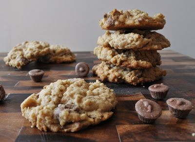 Peanut Butter Oatmeal Cookies with Mini Reece's Peanut Butter Cups