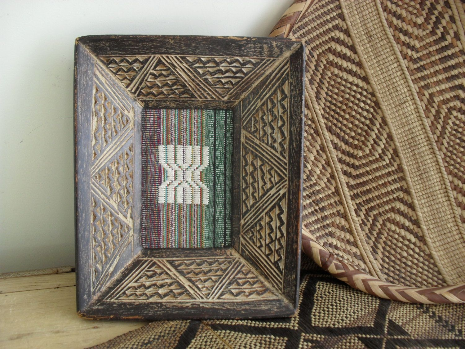 African art fabric picture vintage african decor hand carved african picture african fabric picture vintage african art hand carved wooden frame woven fabric picture ethnic jeuxipadfo Images
