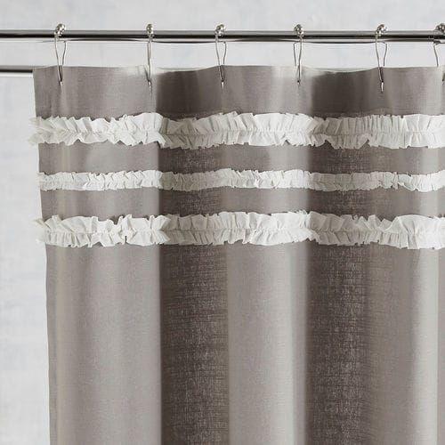 Ruffle Trim Gray Shower Curtain