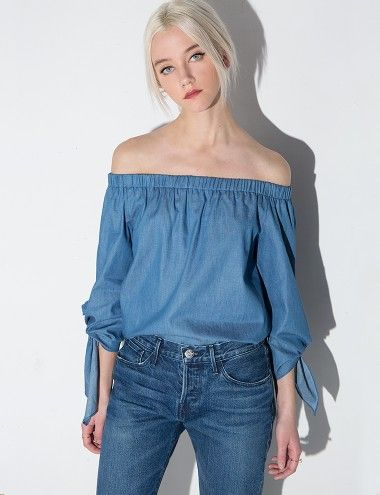 26a3d1f226877c Chambray denim off the shoulder top with 3/4 knot tie sleeves. *100% cotton  denim*Length 24