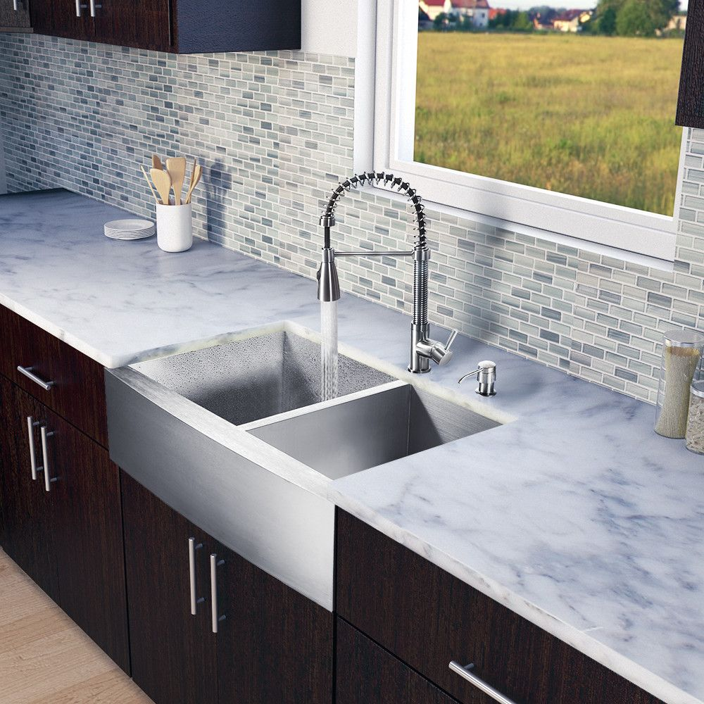 33 Inch Farmhouse Apron 60 40 Double Bowl 16 Gauge Stainless Farmhouse Sink Kitchen Double Bowl Kitchen Sink
