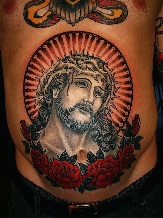 86b6318eaf5b6 Crown of Thorns Jesus Old School Religious tattoo   Day of the Dead ...