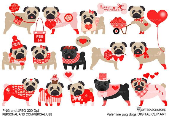 Valentine Pug Dogs Digital Clip Art For Personal And Commercial