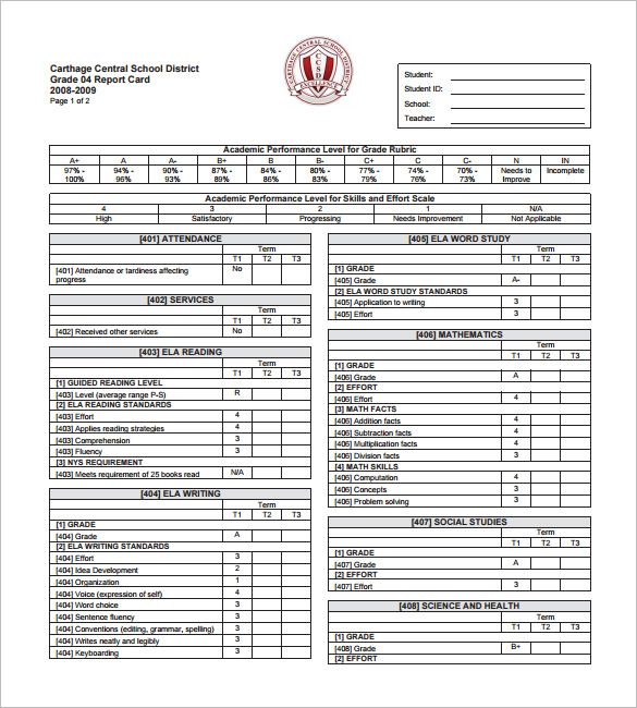 progress report card template free printable word pdf psd - report card template