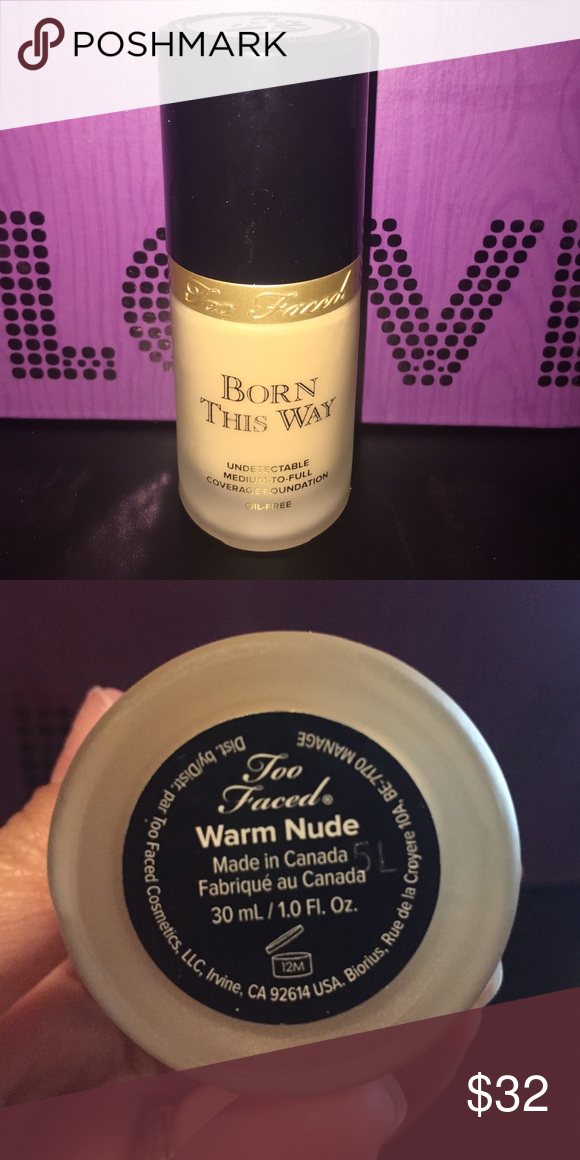 Too Faced BORN THIS WAY Used twice. Perfect condition. WARM NUDE Too Faced Makeup Foundation