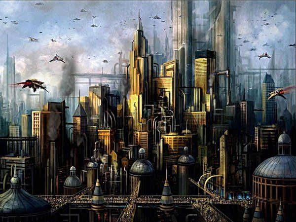 Fond Ecran Gratuit Hd Science Fiction33 All Images City Artwork Steampunk City Futuristic City