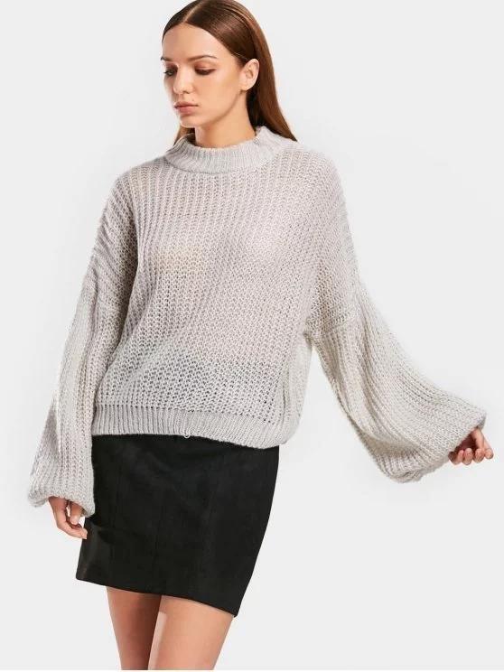 Gorgeous Lantern Sleeve Mock Neck Chunky Sweater  57200f27d