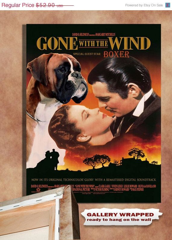 Fawn Boxer Dog Art Gone With The Wind Movie Poster Print Boxer Dog