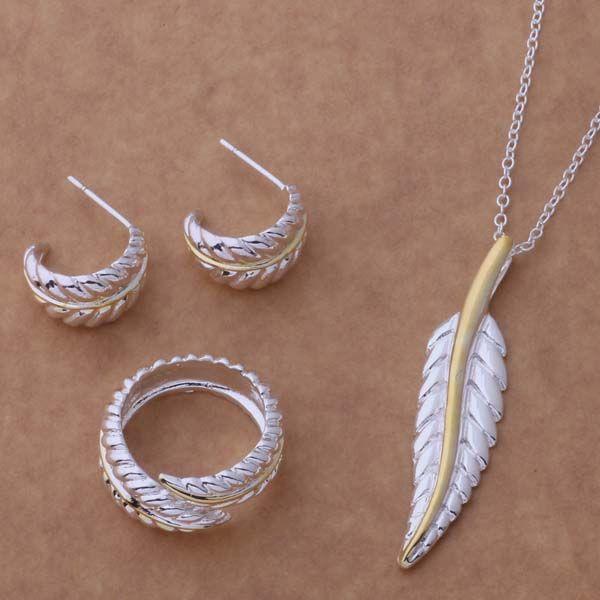 AS131 Hot 925 sterling silver Jewelry Set Orecchini Collana 152 + 305 + Anello 264/afjaiwqa alwajdda