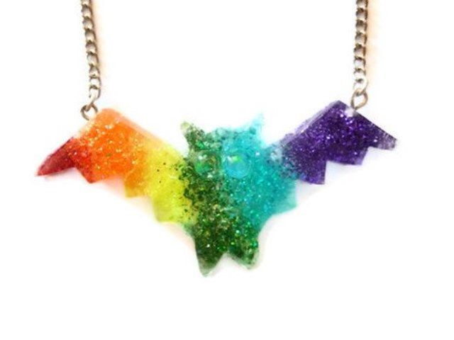 Halloween Necklace,Rainbow Bat Necklace - Colorful Bat Pendant - Halloween Jewelry by CoffeeDesign on Etsy https://www.etsy.com/listing/104994351/halloween-necklacerainbow-bat-necklace