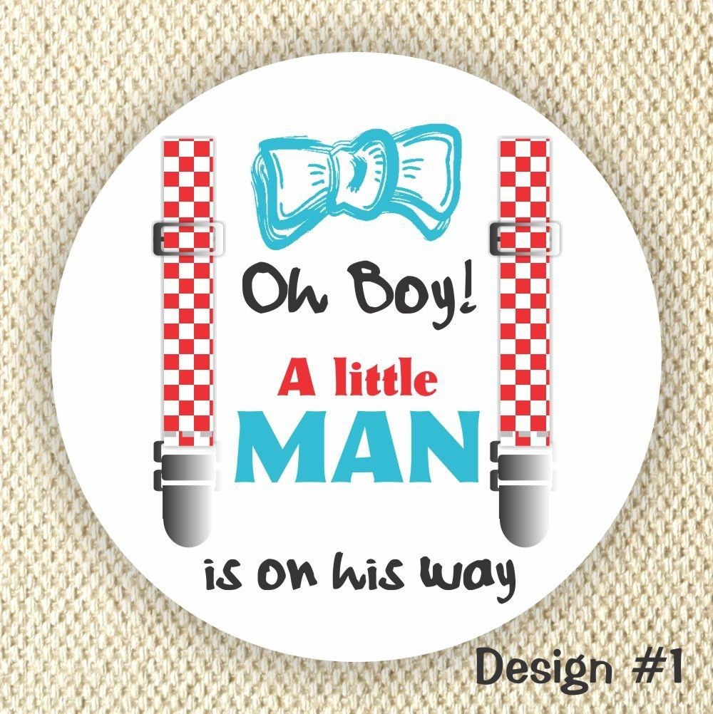 """A little Man Baby Shower stickers - Baby Shower Favor Stickers - Oh Boy!. These custom stickers are perfect for Baby Showers. Set of 40 stickers. They are printed on 2"""" circle high quality matte sticker paper. Please add the quantity based on how many sheets of stickers you would like to order. Remember to select the Design number -------------------------------------------------------------------------- One monitor display color differently from another; please take this into…"""