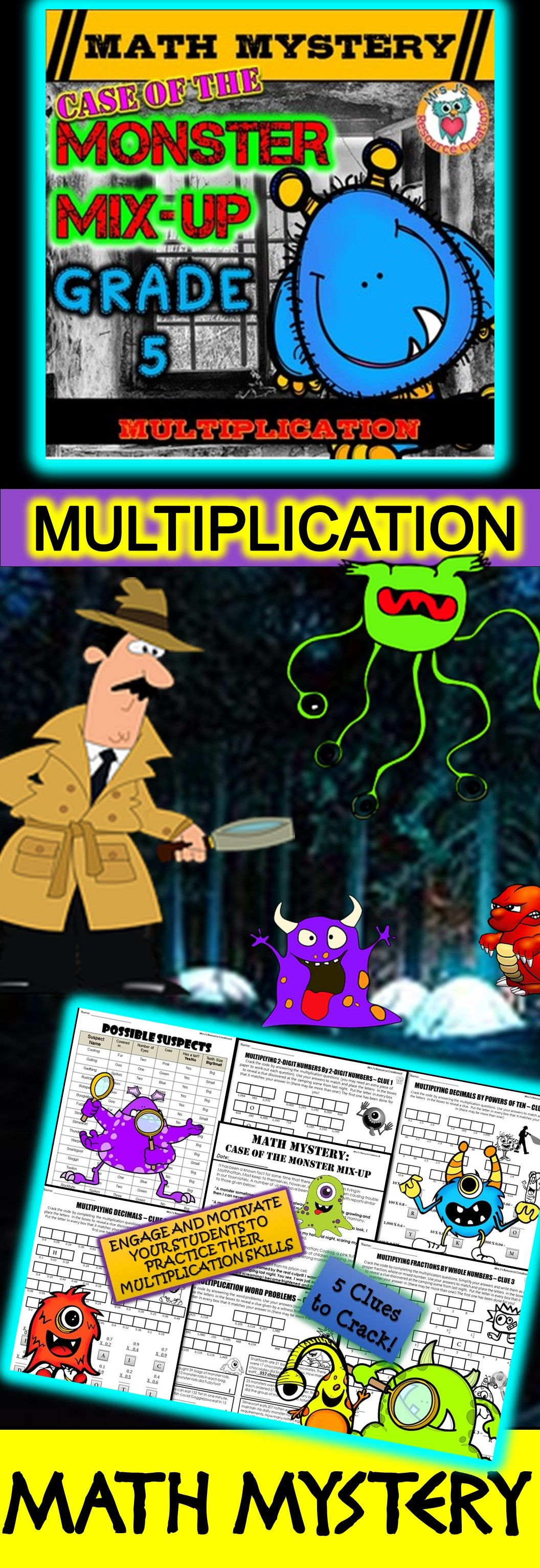 Multiplication Math Mystery Game