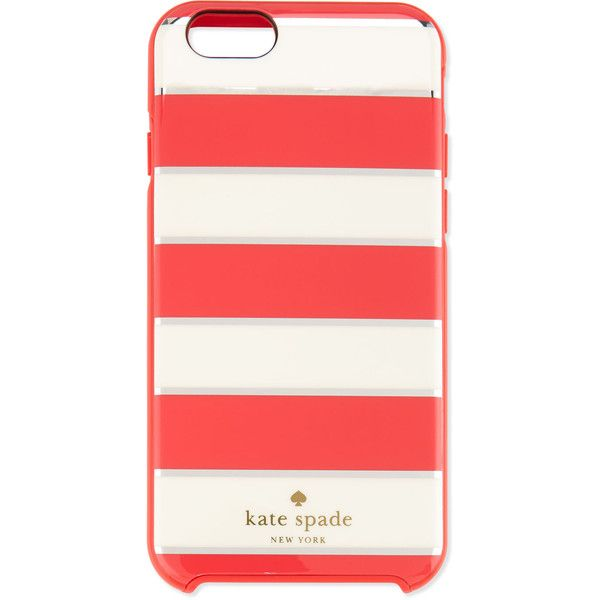 kate spade new york metallic edged stripe i Phone 6 case (29.085 CLP) ❤ liked on Polyvore featuring accessories, tech accessories, phone case, geranium and kate spade