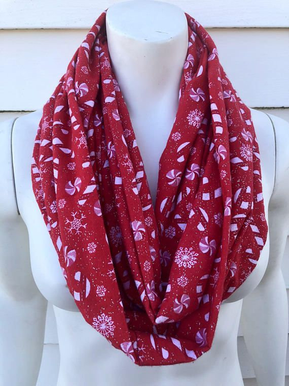 3fdea29ce Red Christmas Scarf-Candy Cane Handmade Flannel Infinity Scarf-Women's  Winter Chunky Scarf-Toddler K