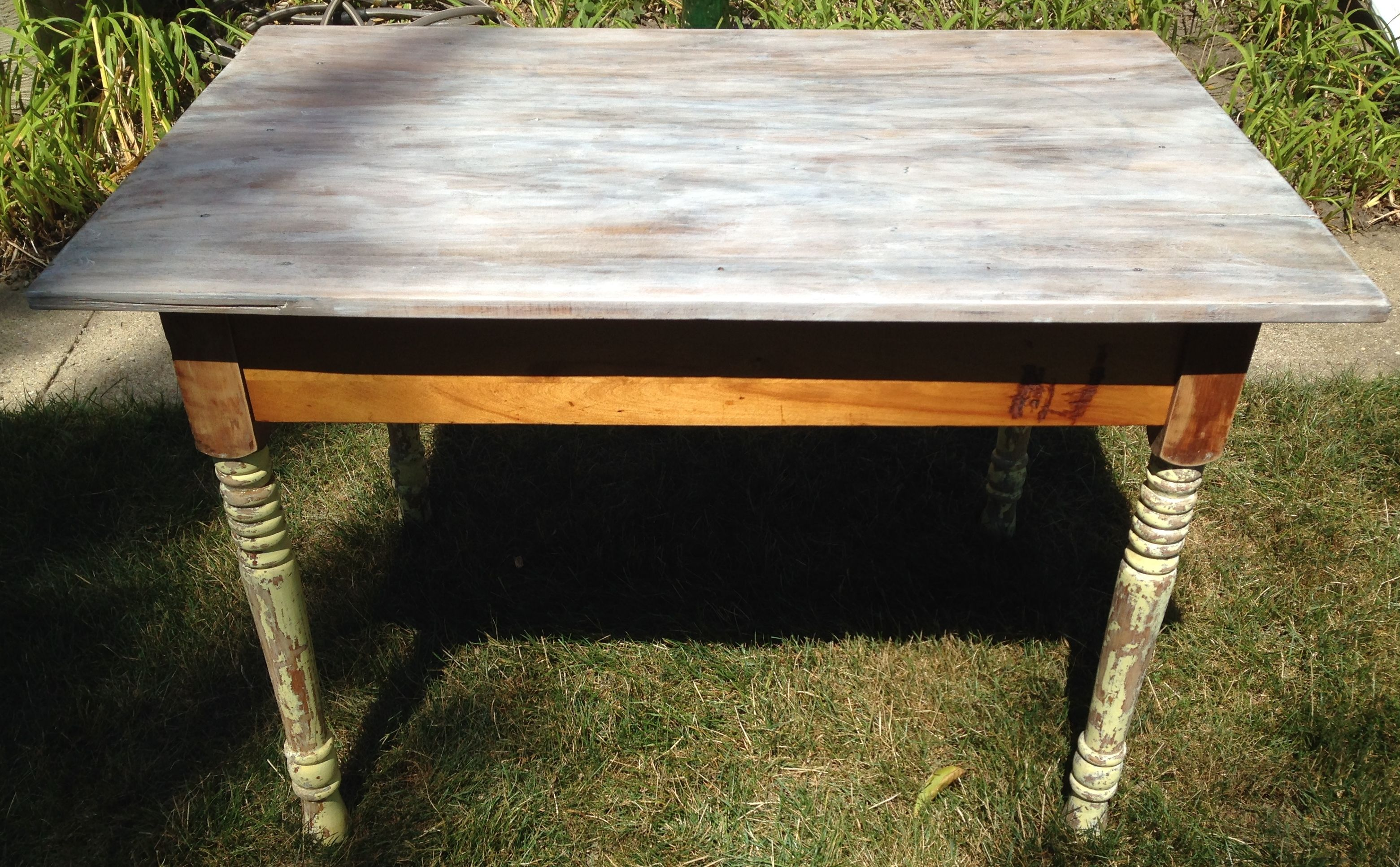 Wood Table With A Formerly Warped Top Fixed The Warp Then Stained The Top Three Colors Whitewash Ebony And Classic Oak Furniture Fix Wood Table Table