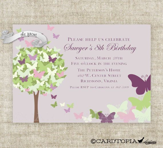BUTTERFLY BIRTHDAY PARTY Invitations Fairy Tale Purple Butterfly Digital Diy Printable Personalized