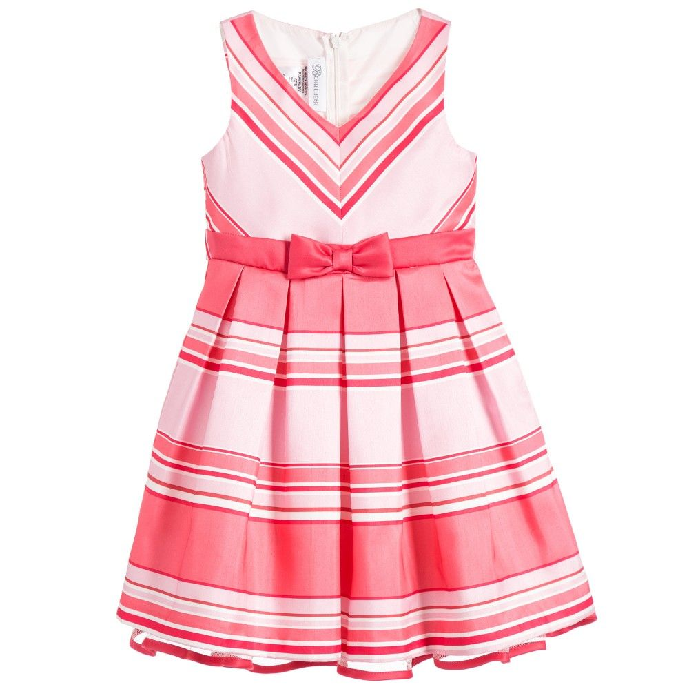 Bonnie Jean Pink Coral Striped Dress with Bow